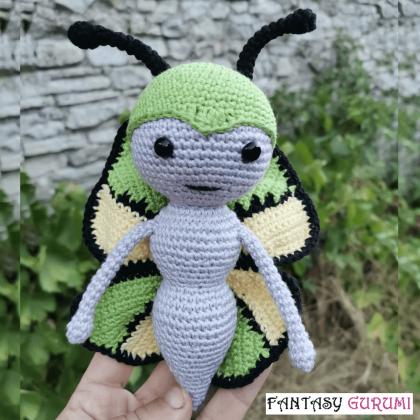papillon vert noir crochet